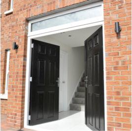 Black double front doors